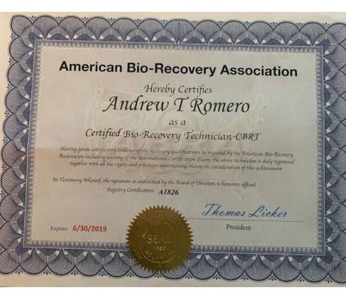 Biohazard SERVPRO of Plano Bio Certified Recovery Technicians