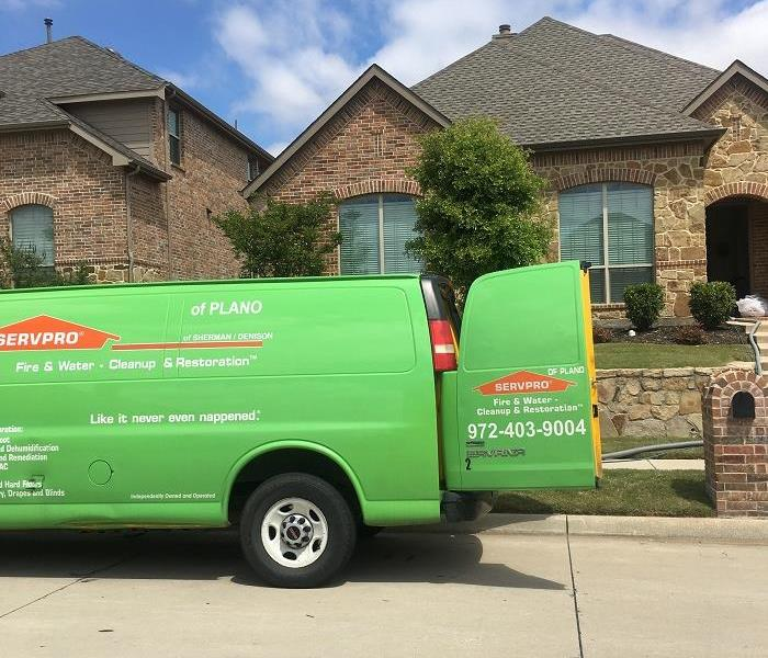 SERVPRO vehicle at storm site
